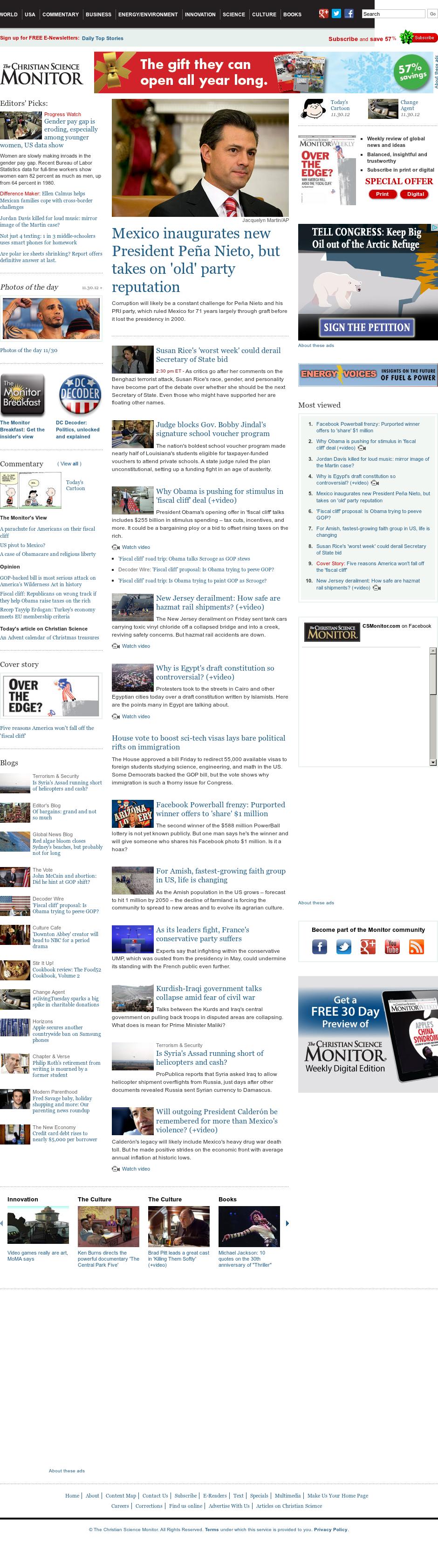 The Christian Science Monitor at Saturday Dec. 1, 2012, 9:06 p.m. UTC