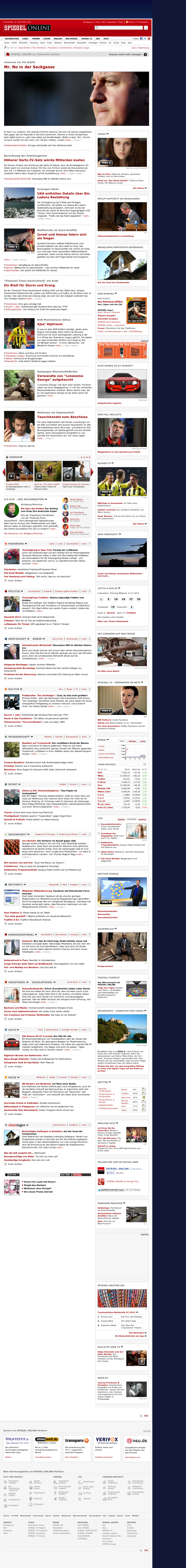 Spiegel Online at Thursday Nov. 22, 2012, 9:30 a.m. UTC