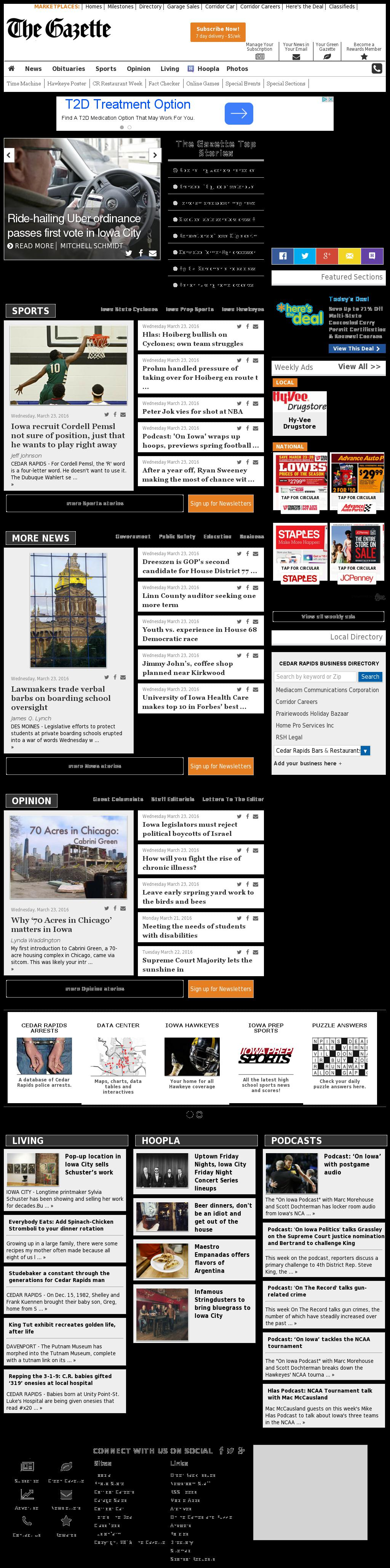 The (Cedar Rapids) Gazette at Thursday March 24, 2016, 4:04 a.m. UTC