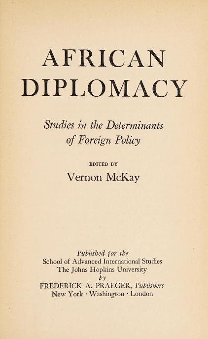 African diplomacy by Vernon McKay