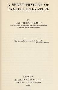 Cover of: A short history of English literature | Saintsbury, George